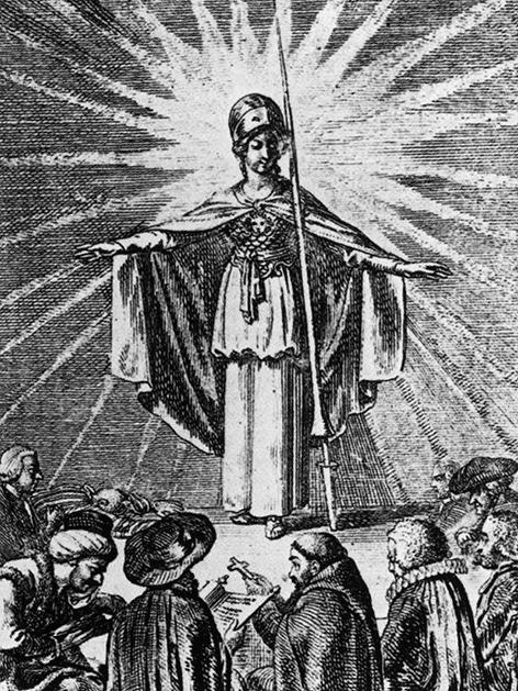 Minerva, die römische Göttin der Weisheit, spendet das Licht der Erkenntnis, wodurch die Religionen der Welt zusammenfinden (Daniel Chodowiecki, 1791)