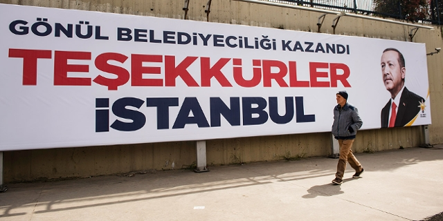 Dankesplakat an Wähler mit Porträt von Erdogan