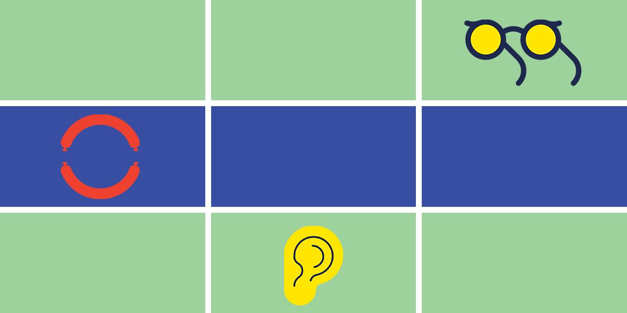 Grafik mit Icons einer Sonnenbrille, eines Ohrs und zwei Würsten