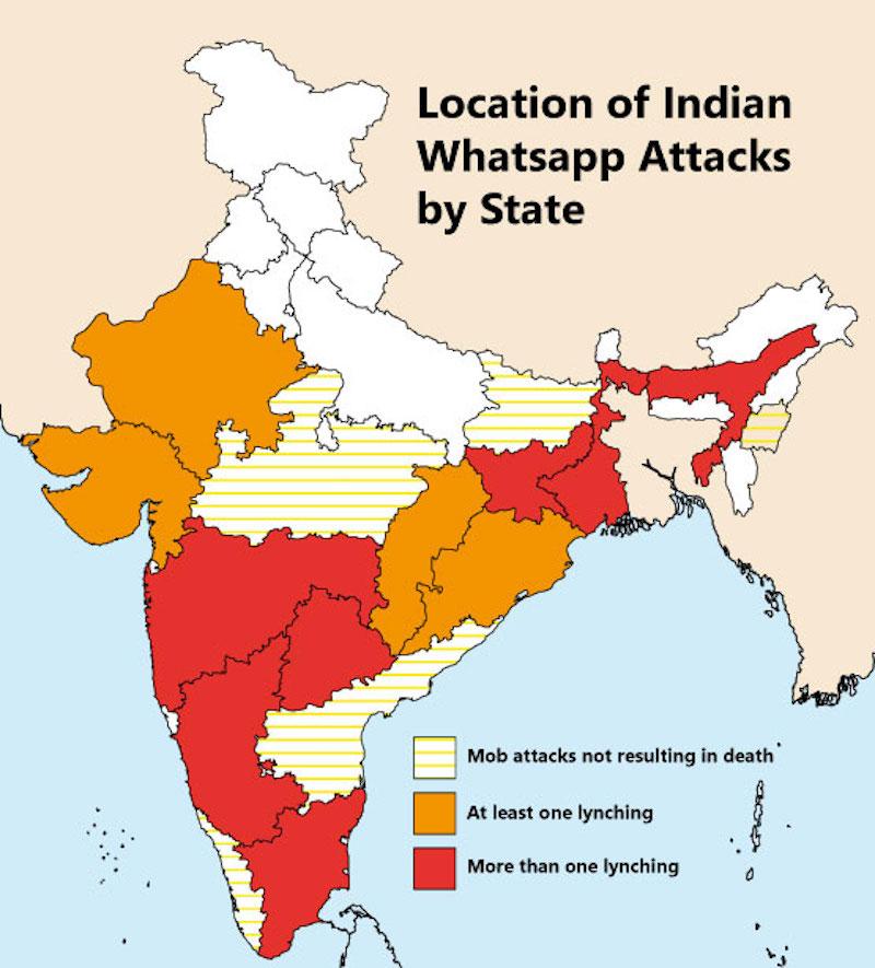 Karte der Whatsapp-Lynchmorde in Indien