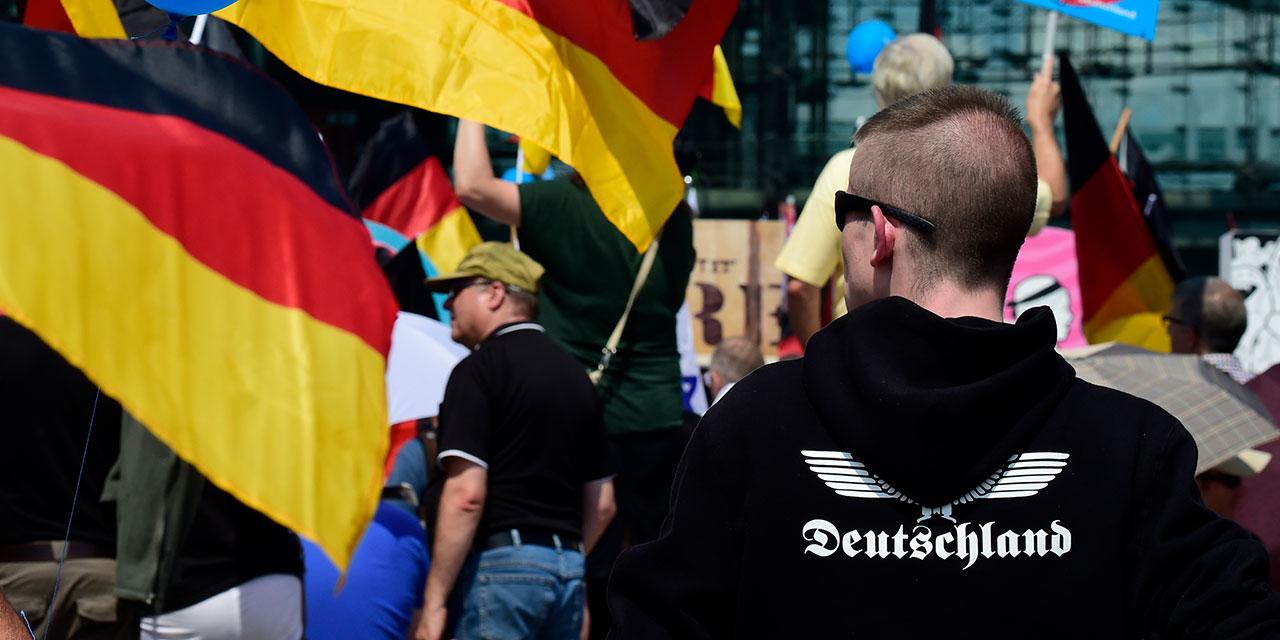 Mann mit Deutschland-Pullover und deutschen Flaggen auf einer AfD-Demo