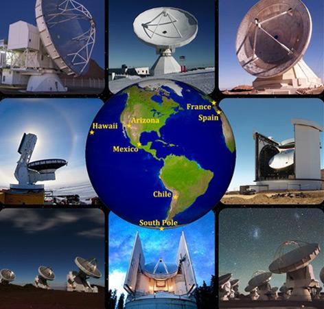 "Die acht an den ""Event-Horizon-Teleskop""-Beobachtungen im April 2017 beteiligten Teleskope"
