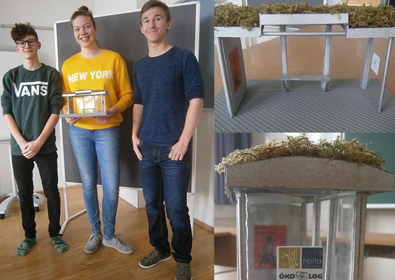 Drei SchülerInnen der Höheren Bundeslehr- und Forschungsanstalt für Gartenbau in Schönbrunn und ihr Modell einer begrünten Busstation.