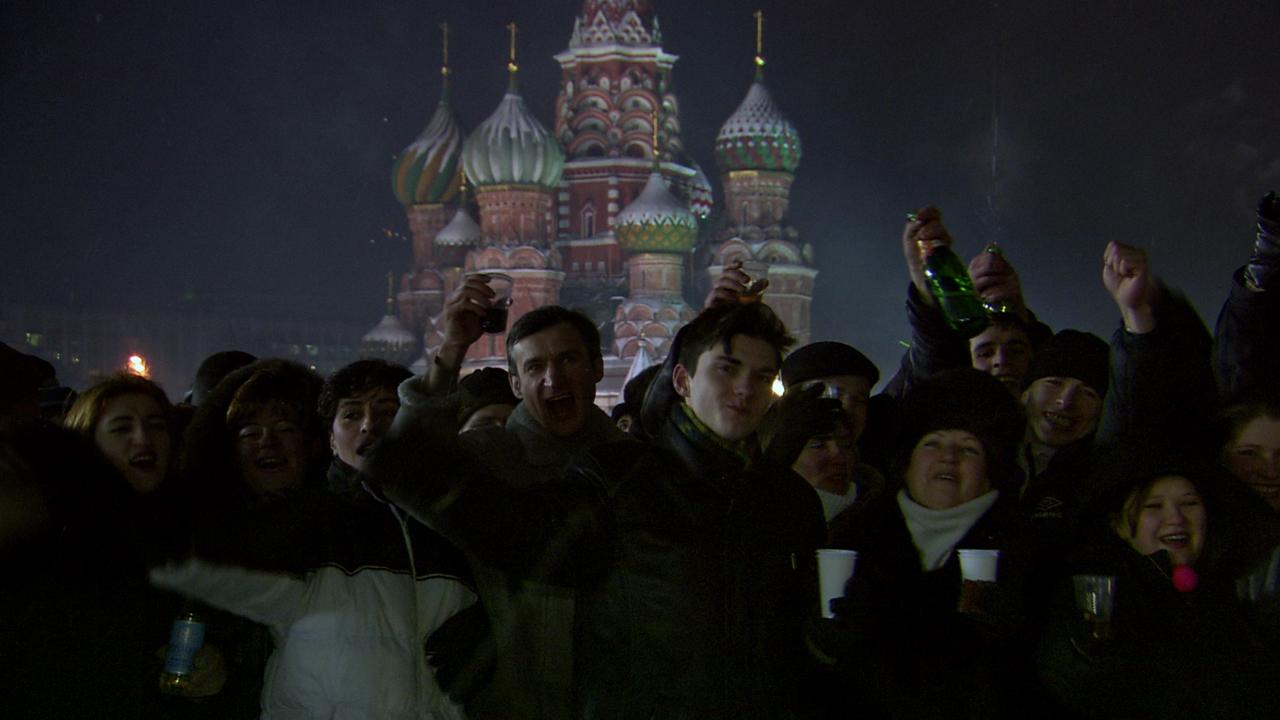 Protestierende Menschen in Moskau
