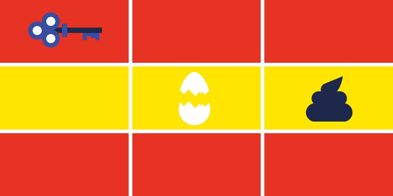 Grafik mit drei Symbolen