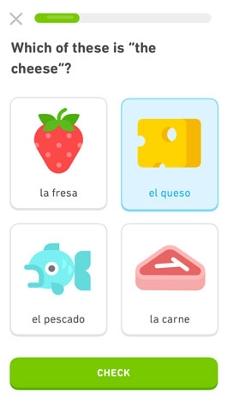 Oberfläche von App Duolingo