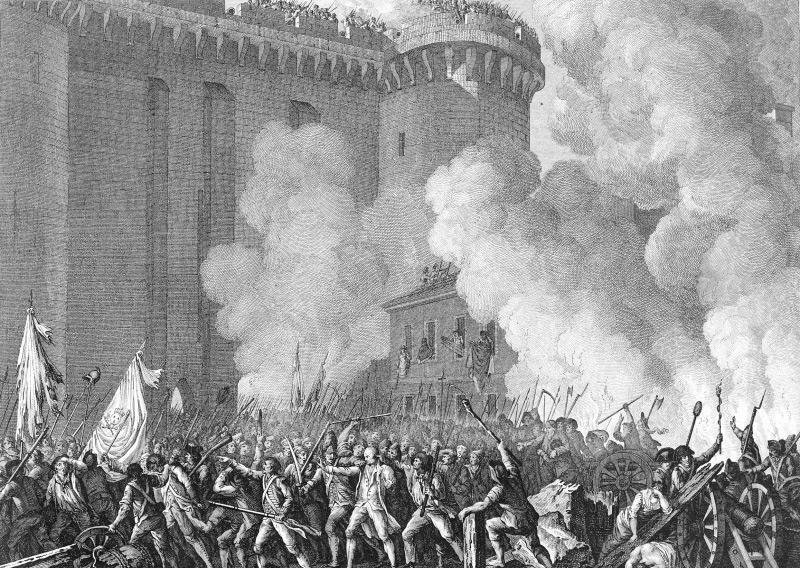 Sturm auf die Bastille in Paris 1789: Gravur von Pierre Gabriel Berthault und Jean Louis Prieur