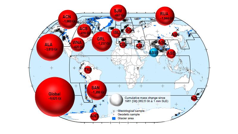 Die globale Verteilung der Eisverluste der Gletscher