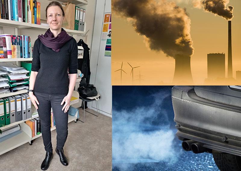 Die Klimaökonomin Claudia Kettner, ein Kohlekraftwerk, Auto-Abgase