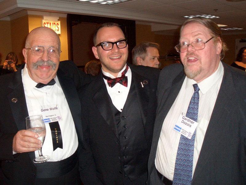 Gene Wolfe, Cory Doctorow und Garnder Dozois auf einer Gala