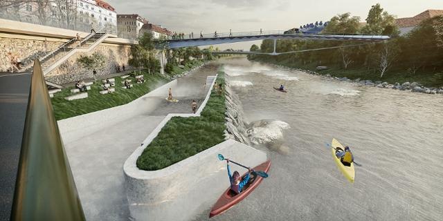 Visualisierung der Murwelle in Graz