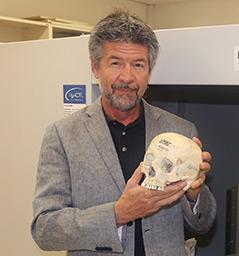 Anthropologe Gerhard Weber mit menschlichem Schädel