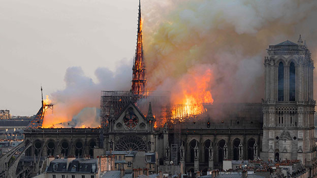 Notre Dame in Paris in Flammen
