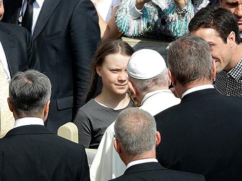 Klimaaktivistin Greta Thunberg bei der Generalaudienz mit Papst Franziskus