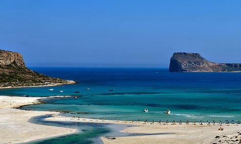 Strand Balos, an der Westküste der griechischen Mittelmeerinsel Kreta