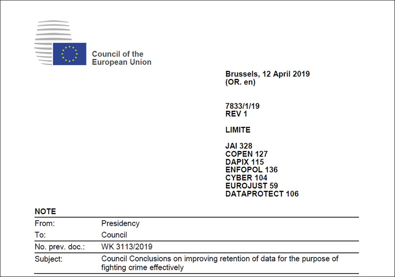 Schreiben des Council of the European Union