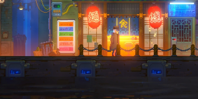 "Bunte Pixelstadt aus ""Tales of the Neon Sea"""