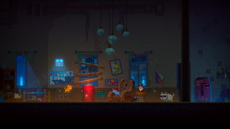 """Roboterkatzen im Wohnzimmer in """"Tales of the Neon Sea"""""""