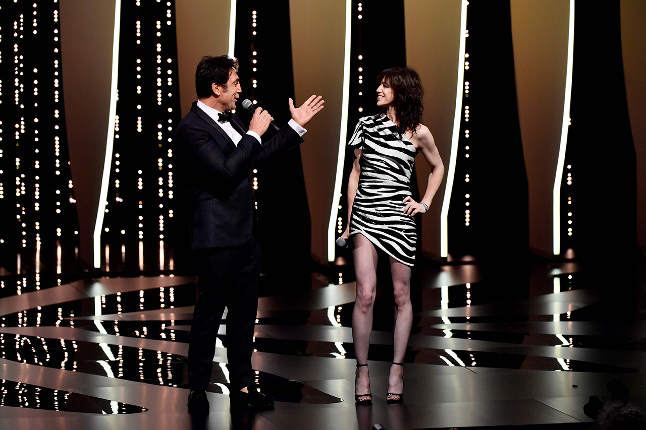 Javier Bardem and Charlotte Gainsbourg during the opening ceremony of the 72nd edition of the Cannes Film Festival in Cannes, southern France, on May 14, 2019