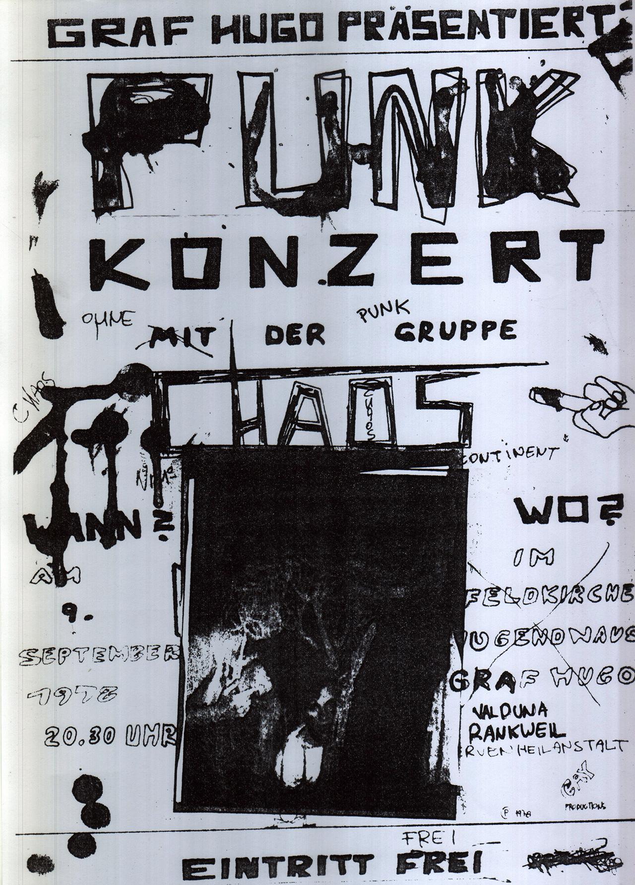 """Ankünigung des ersten Chaos-Konzertes im Feldkircher Jugendclub """"Graf Hugo""""."""