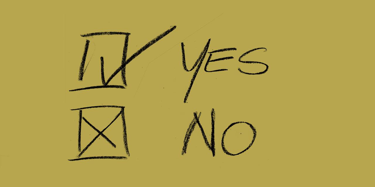 ja und nein-Felder zum Ankreuzen