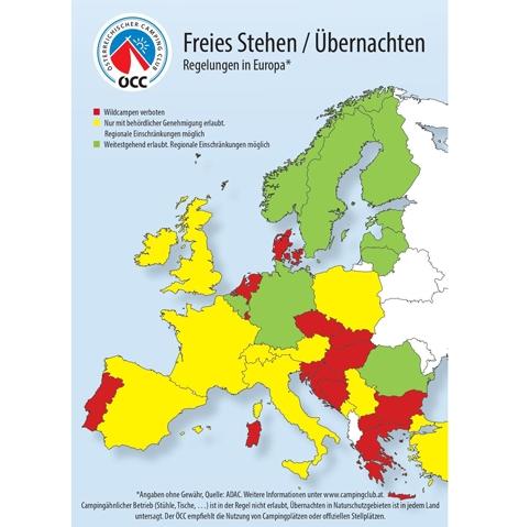 Europakarte mit Bestimmungen zum wilden Campen