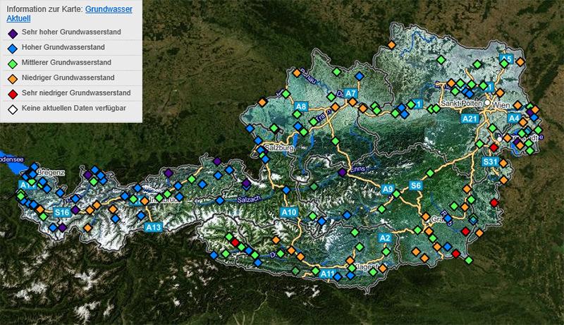 Österreichkarte zeigt Grundwasservorkommen an