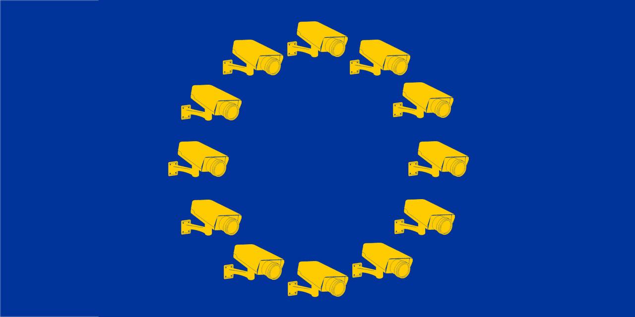 EU-Flagge mit Kameras statt Sternen