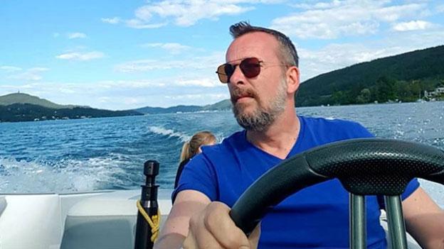 Robert Kratky im Boot