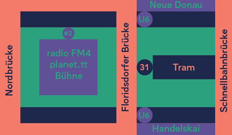 Skizze zur Lage der FM4 Bühne am Donauinselfest