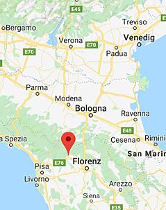 Rote Markierung auf Landkarte zeigt Pistoia in der Toskana