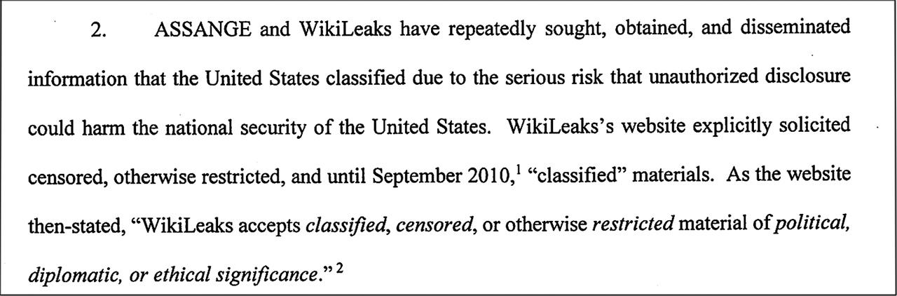 Anklage gegen Assange