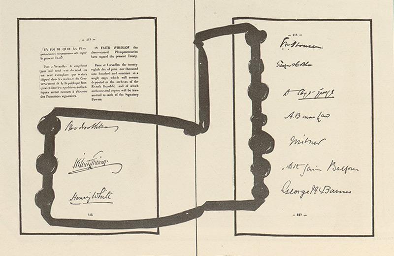 Unterschriften auf dem Friedensvertrag