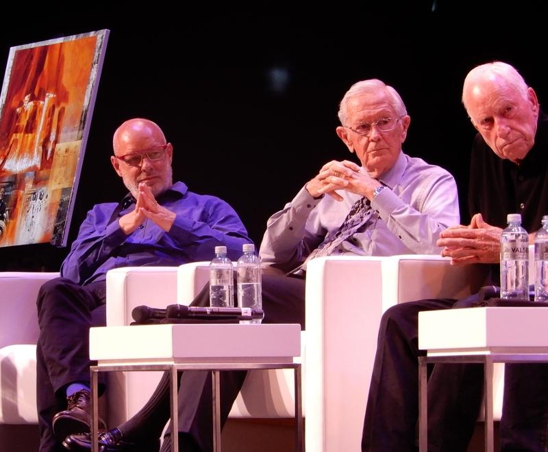 Garik Israelian, Brian Eno, Charlie Duke, Al Worden in a panel