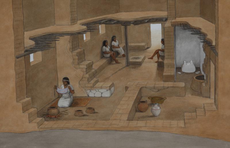 Rekonstruktion eines Philister-Hauses aus dem 12. Jahrhundert vor unserer Zeitrechnung