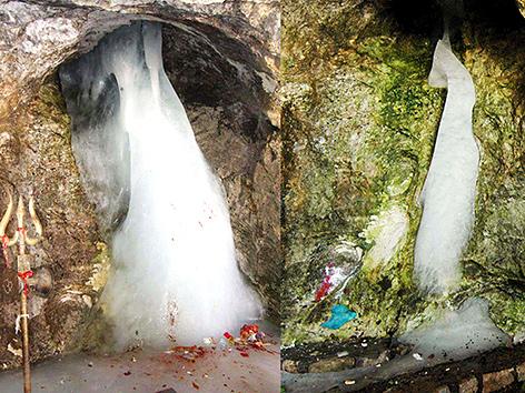 Zwei Abbildungen des Shiva-Lingam in der Amarnath-Grotte im Himalaya