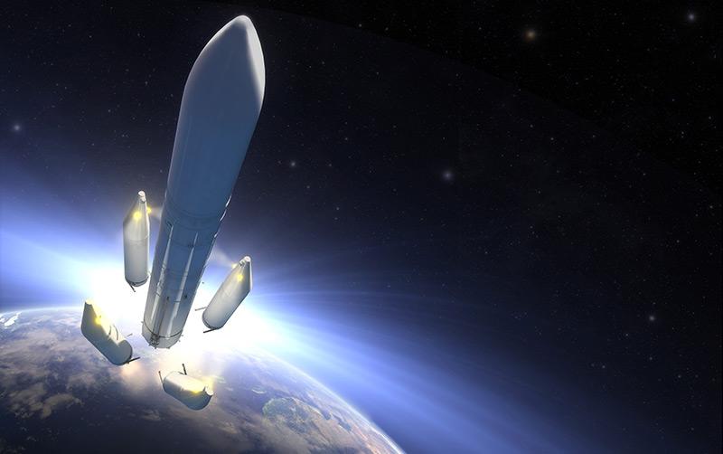 Künstlerische Darstellung der Ariane-6-Rakete