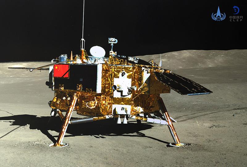 """Die chinesische Sonde """"Chang'e 4"""", die am 3. Jänner 2019 auf der Rückseite des Mondes gelandet ist, aufgenommen vom Roboterfahrzeug """"Yutu-2"""""""