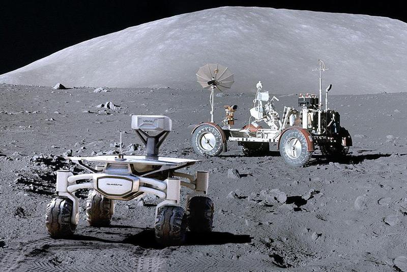 """Künstlerische Darstellung: Der Rover kehrt an die Landestelle von """"Apollo 17"""" zurück"""
