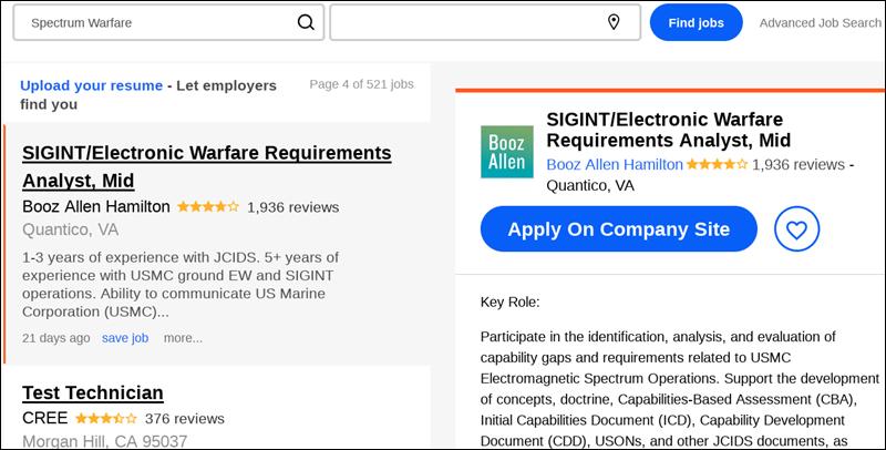 Screenshot einer Jobbörse