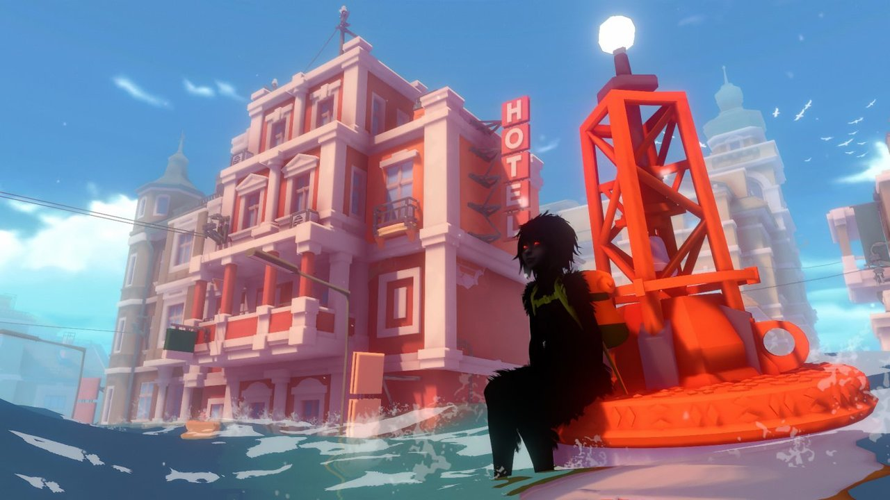 """""""Sea of Solitude"""": Das Monster-Mädchen vor einem Prachtbau."""