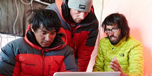 David Lama, Hansjörg Auer und Peter Ortner