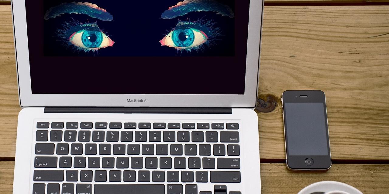Laptop mit Augen --> Big Data