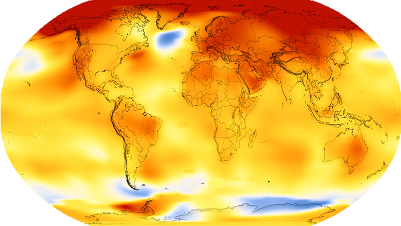 Weltkarte zeigt den globalen Temperaturanstieg