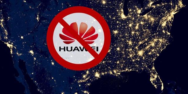USA aus Satellitenperspektive mit Huawei-Verbotsschild