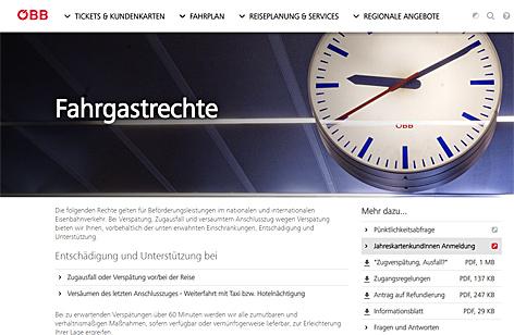 Screenshot der Infos zu Fahrgastrechten auf der Website der ÖBB