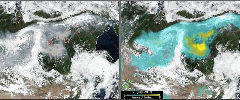 Satellitenbilder zeigen Brandherde und Aerosole über Sibirien