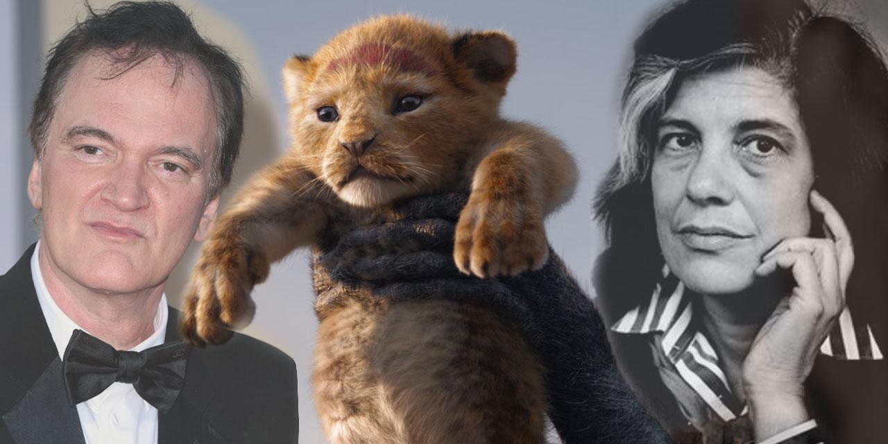 Quentin Tarantino, eine Szene aus König der Löwen von Disney und Susan Sontag in einer Collage