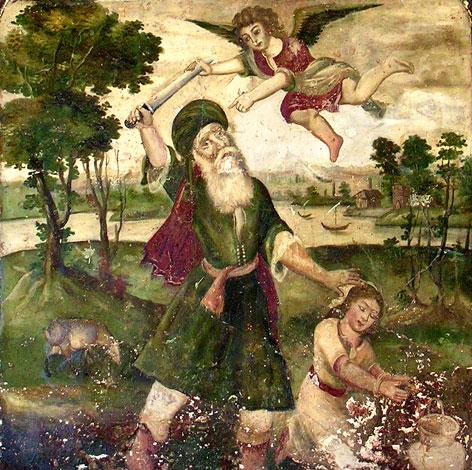 Fresko von Abraham will seinen Sohn Ismail opfern (von einer Museumswand in Shiraz, Iran) aus dem 18. Jahrhundert