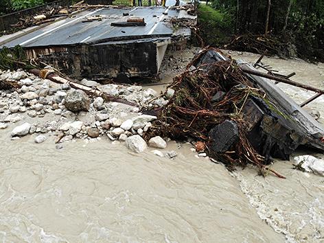 Hochwasserschäden in Rußbach am Pass Gschütt, Salzburg